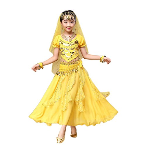Kleid Hochzeit Kostüm Tanz - ❥Elecenty Bauchtanz Kleid Mädchens Chiffon Pailletten Tanzkleidung Indien Mädche Tanzkleidung Karneval Kostüme Komplet Tanz Tuch Chiffon Top + Rock Schleier Hüfttuch (M, Gelber)