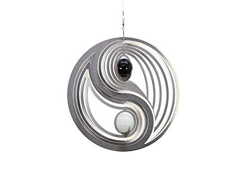 Illumino Edelstahl-Windspiel Yin Yang Easy mit Schwarzer und Weißer 35mm Opalkugel - rostfreies Edelstahl