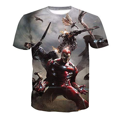 3D T-Shirt Unisex HD Gedrucktes Rundhalsausschnitt Lässig Mit Print Kurzarm Top Iron Man XS (Man Iron Kostüm Paare)