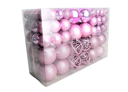 100 Weihnachtskugel Rosa glänzend glitzernd matt Christbaumschmuck bis Ø 6 cm Baumschmuck Weihnachten Deko Anhänger