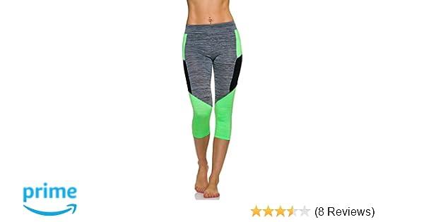 a1563c456c0a3c Adiyaro Damen Sport-Leggings Fitness 3/4 Capri Neon Streifen-Kombination in  Melange: Amazon.de: Bekleidung