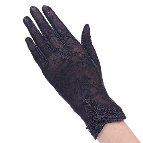 (BXT Damen Sommer UV Sonnenschutz Handschuhe, Seide Touchscreen Handschuhe, Kurze Vollfinger Lace Fahren Handschuhe, Brautkleider Handschuhe, Anti-Rutsch, Atmungsative Handschuhe)