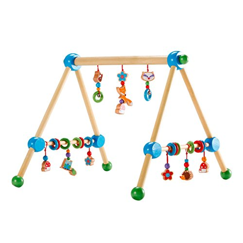 solini Spieltrapez Waldtiere mit Glocken / Kinderspielzeug / Spielbogen aus Holz / ab Geburt / bunt