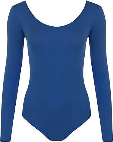 New Ladies Stretch Bodysuit Long Sleeve Top Womens Leotard Blue