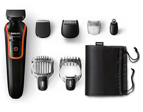 Philips MultiGroom QG3340/16 - Set de arreglo personal, resistente al agua, con funda de viaje, color negro y naranja