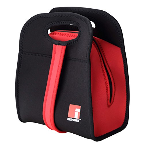 Bergner Walking Business Set bento Box + Bolsa isotérmica, Neopreno, Negro y Rojo, 27x21.5x14 cm