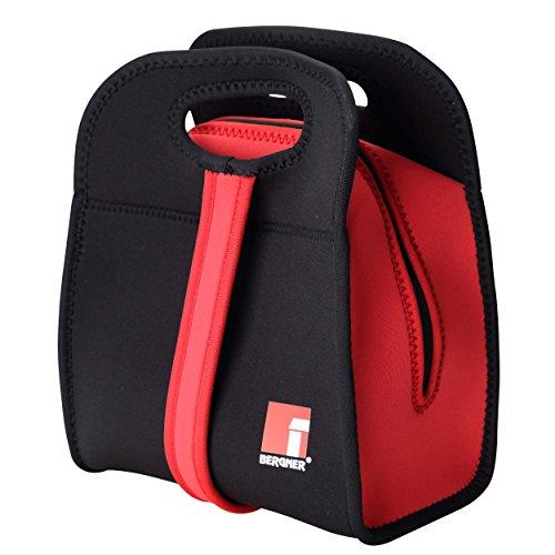 Bergner Walking Business Set bento Box + Bolsa isotérmica, Neopreno, Negro y Rojo, 27x21.5x14 cm