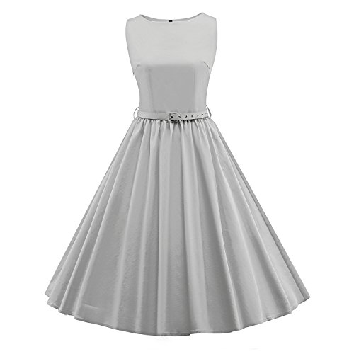 ILover couleur bonbon womens 50s robes de swing de pinup rockabilly millésime taille plus E031-Gris