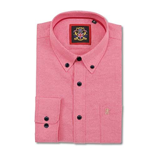 Janeo British Apparel Langer Ärmel Hemd, Mann English Oxford Button-Down-Kragen, mit Tasche & Stickerei Detail. Trägt mit Bande Wochenende Kleidung Locker Freitag Büro ()