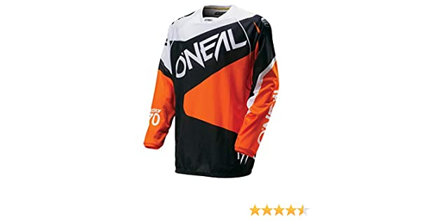 0027/F 50 O Neal Hardwear MX Jersey Flow Nero Arancione Moto Cross Moto Enduro Maglia Shirt