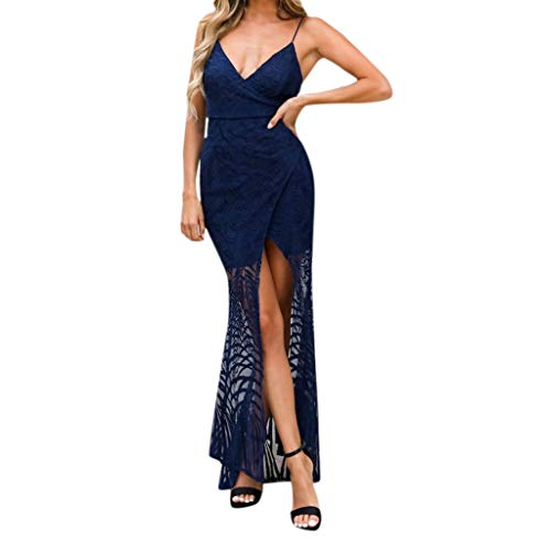 Wawer Damen Partykleid Sexy Einfarbige Rückenfrei Maxi Lang Träger Kleid Abendkleid Strandkleid Schlitzkleid mit V-Ausschnitt und Riemen vorne kleid -