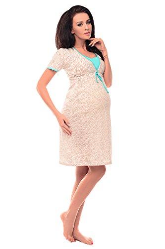 Purpless 2in1 Nachtkleid für Schwangere Damen mit Stillfunktion Umstands-Nachthemd Stillnachthemd Umstands-Pyjama 4044n (38, Hearts Print Mint)
