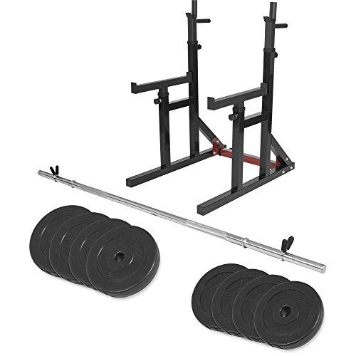 GORILLA SPORTS® Multi Squat Rack Knieubeugenständer mit Langhantel-Set 30 kg Kunststoff - Ablage für Hantelstangen, verstellbar mit Dipgriffen (Hantelbank Squat Rack)
