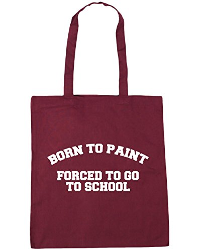 hippowarehouse-born-to-paint-forced-to-go-to-school-tote-shopping-gym-beach-bag-42cm-x38cm-10-litres