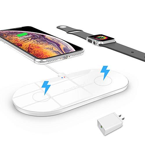zealsound Dual Schnelles Wireless-Ladegerät für Apple Watch/iPhone, Qi Wireless Charger, mit Quick USB 3.0-Adapter, 10W/ 7,5W/5W 3 Modus Ladegerät mit USB-Ausgang für Phone und Watch