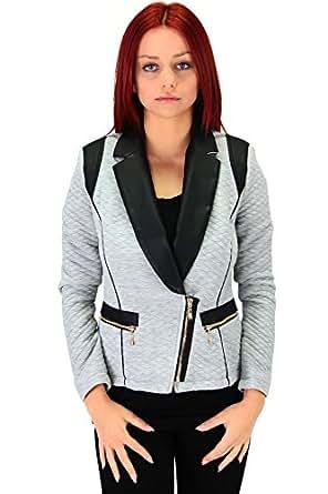 Moderner Blazer mit großem Kunstleder Kragen Grau, Größe:L