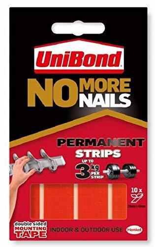 Unibond Réf 781740 Bandes adhésives extra-fortes Permanent Transparent Chaque bande peut supporter jusque 2,75 kg Lot de 10 (Import Royaume Uni)