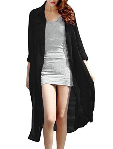 Femmes [Col Pointu 3/4 Manche simple boutonnage Front Robe Chemise Noir
