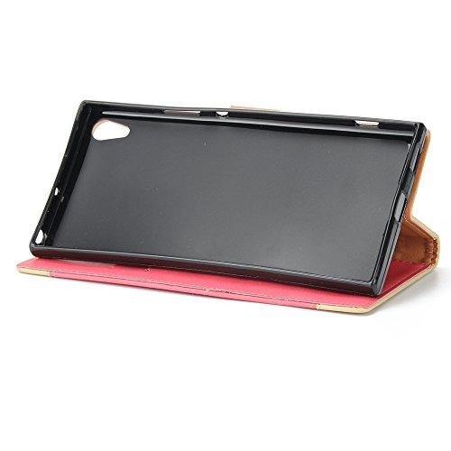 EKINHUI Case Cover Gemischte Farben Rose Blume matt Premium PU Leder Brieftasche Stand Case Cover mit Lanyard & Card Slots für Sony Xperia XA1 UITRA ( Color : Red ) Red