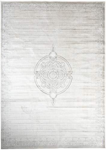 Carpeto Rugs Teppich Orientalisch Kurzflor 100% Viskose Beige Hellbeige 80 x 150 cm S - Viskose-teppich