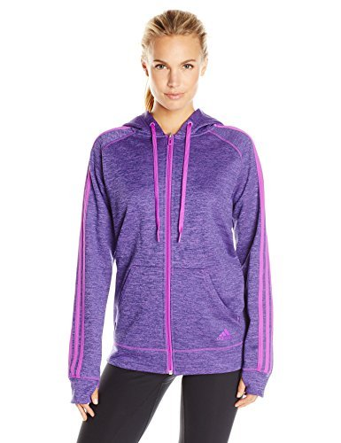 Adidas Women S Team Issue Fleece 3 Stripe Full Zip Hoodie