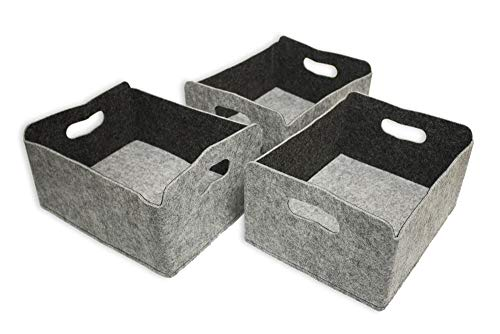 Luxflair 3er Set Aufbewahrungskörbe aus waschbarem Filz in Graumeliert/dunkelgrau LxBxH: 30x24x15cm, Ordnungsbox, Regalbox, Faltbox, Spielzeugkorb, Filzkorb