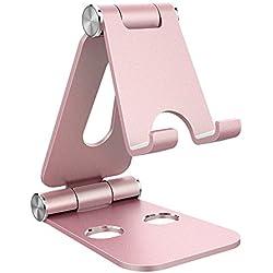 Support Téléphone, Support Tablette, Support Dock pour téléphone Portable, Accessoires, Bureau, d'autres Smartphones Aluminium - Or Rose