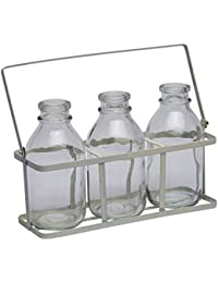Juego de 3 botellas de leche de vidrio de época Mini Escuela en embalaje de metal blanco Bud Vase Beber vidrio de tiro