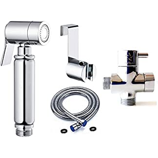 BbfStyle – Elegancia, Diseño y Calidad – Set de Ducha de Bidés Toilet con válvula de 3 vías – Para higiene íntima – Acabado cromado – Tahret Taharat.