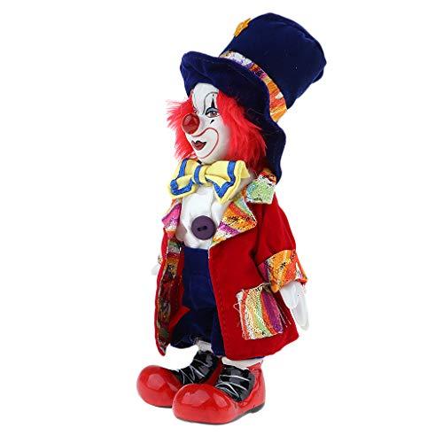 non-brand MagiDeal Lustige Stehende Porzellan Puppe mit Clown Kostüm, Clownmann Spielpuppe Porzellanpuppe für Halloween Weihnachten Party Dekoration - # 7