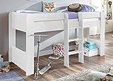 Froschkönig24 Hochbett ANDI 1 Kinderbett Spielbett halbhohes Bett Weiß, Matratze:ohne