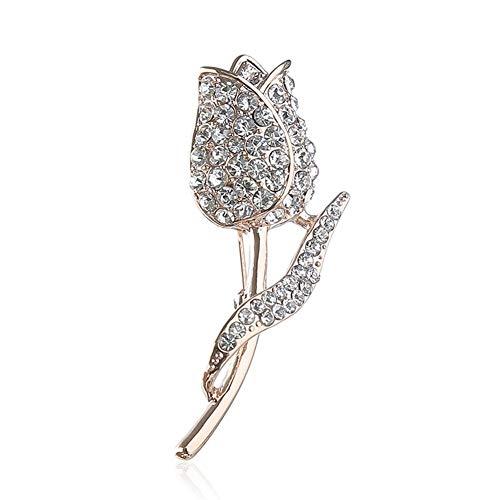 Suolang Vintage Mode Brosche Bekleidungszubehör Legierung Eingelegten Kristall-Tulpe Brosche Schönes Mädchen Geschenk, Gold