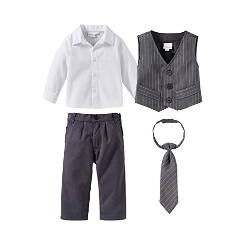 Bornino Festliche Mode-Set (4-TLG.) für Jungen - Anzug mit Weste, Hemd, elastischer Hose & weitenverstellbarer Krawatte - grau/weiß/anthrazit (Für Anzüge Billig Jungen)