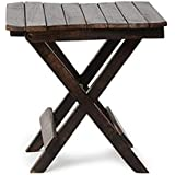 Hindoro Mango Wood Coffee and Centre Table, 15x15x15 Inches (Black)