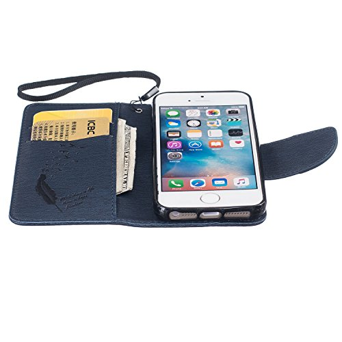 iPhone SE Hülle, iPhone 5S Hülle,iPhone 5 Hülle,SainCat Apple iPhone SE / 5S / 5 Reliefprägung(Schmetterlings-Rose,Blitz-Diamant)Ledertasche Brieftasche im BookStyle PU Leder Hülle Wallet Case Folio S Feder-Blau