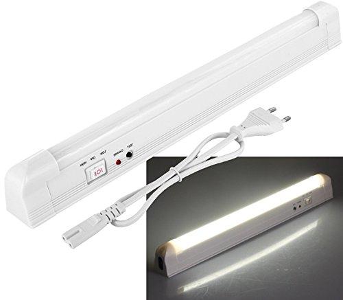 LED Akku Notleuchte mit Netzkabel 230V - 4W 360lm - 340mm - Lithium-Ionen-Akku 3,7V 2200mAh - Wand oder Deckenmontage - kaltweiß (6000 K)