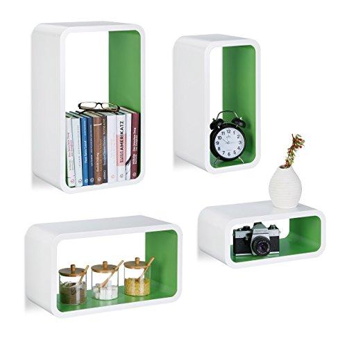 Relaxdays Étagère flottante murale 4 cubes rectangles en MDF compartiment coloré coins arrondis, blanc-vert