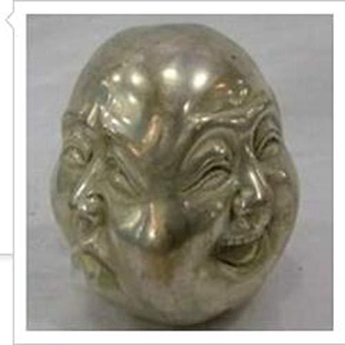 Im Alter Von Bronze-kreuz (AGLKH Hauptdekorationen Dekoration Messing Seltene chinesische Tibet Messing 4 Gesichter Buddha Kopf Statue JINHONGBO 5cm chinesische Dynastie alte antike Reine Bronze, Metallic)