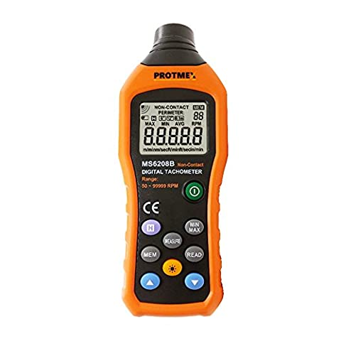 Protmex MS6208B 50-250mm Non-contact Measurement Digital Tachometer With 100 Groups Data Logging, Data Hold, Max/Min/AVG, Backlight