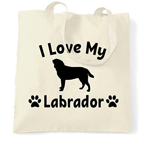 I Love My Dog Lover Labrador regalo carino adorabile Sacchetto Di Tote Natural