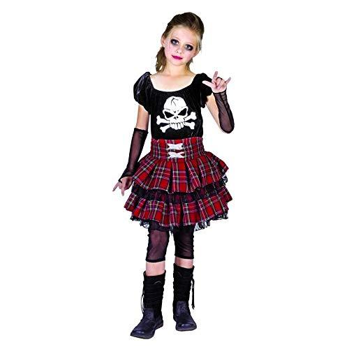 Punk Rock Kostüm Mädchen - P'tit Clown 88154Kostüm für Kinder Luxe Punk Mädchen-Mehrfarbig