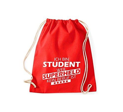 Shirtstown Borse palestra Ich bin Studente, perché Super eroe niente Occupazione è - Grigio Chiaro, 37 cm x 46 cm rosso