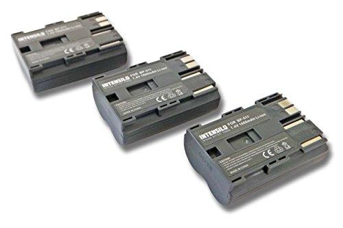 INTENSILO 3X Li-Ion Akku 1600mAh (7.4V) für Kamera Camcorder Video Canon Optura-Serie, Powershot-Serie, ZR-Serie wie BP-508, BP-511, BP-535. -
