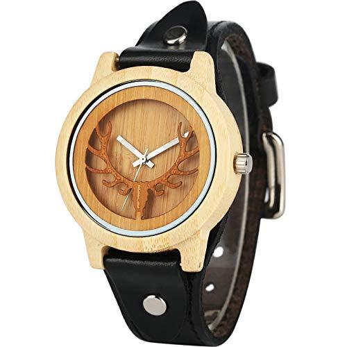 FLHSL Reloj de Madera Marca Natural Empotrado Ciervo Reloj de Madera Rock elk bambú Creativo Punk Hombre Ocio Reloj analógico Regalo