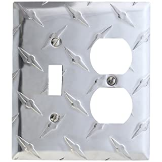 Amerelle 955TD Garage Diamond Cut Aluminum Wallplate with 1 Toggle/1 Duplex Outlet