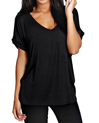 ZANZEA Damen V-Ausschnitte Kurz Ärmel Lose Langshirt T-Shirt Tops Bluse Schwarz EU 38-40/Etikettgröße M - V-neck Tunika Shirt