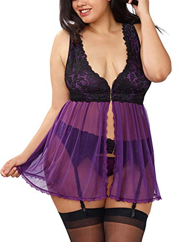 Dreamgirl Babydoll-Kleid mit Strumpfgürtel und passendem G-String für Damen - Violett - Mittel -