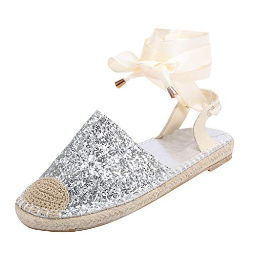 koperras Women's Bandage Sandals Straw Round Toe Flat Casual Sequin Shoes Cross Strap Rome Style Sandals