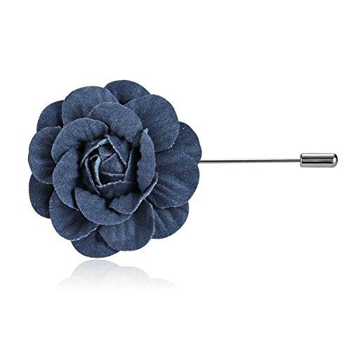 Epinki Uomo Donna Acciaio Inossidabile Risvolto Pin Mano Boutonniere Fiore Blu Nero Spilla per Bussiness Matrimonio