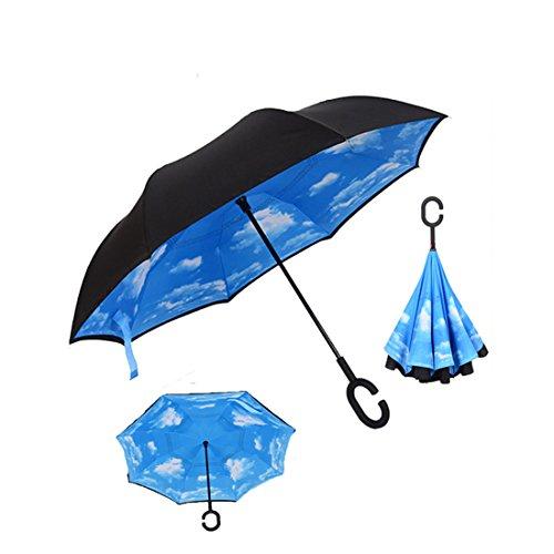 Ombrello invertito doppio strato contro manico grande protezione dal vento a forma di raggi ultravioletti C-Destra e protezione bag (Cielo blu)
